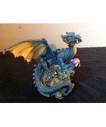 Dark Blue Dragon Statue Holding Red Ball 98 WUI - £25.25 GBP