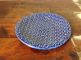 Dark Blue Ceramic Artisan Handcrafted Plate Saucer Triangular Pattern