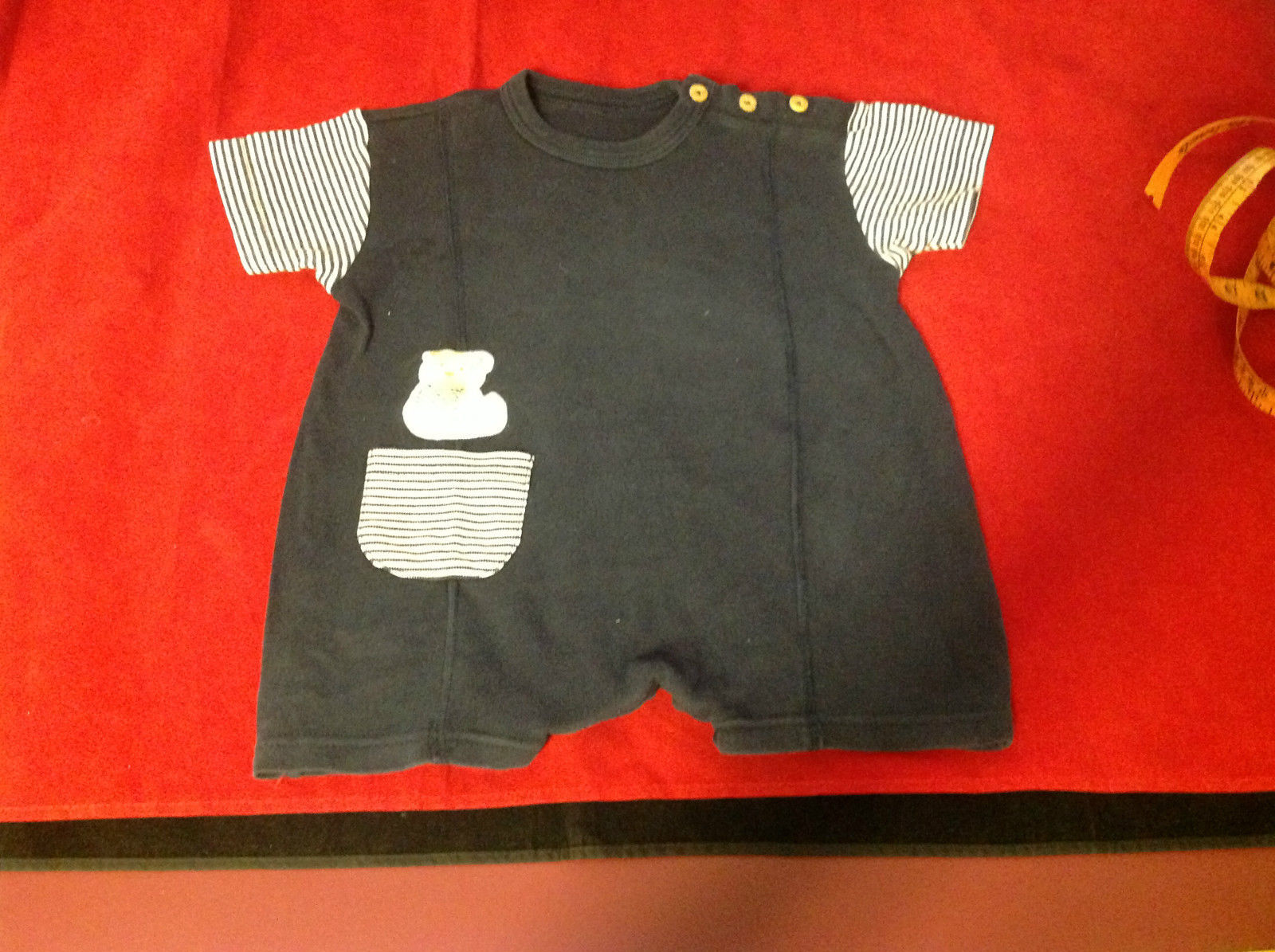 Dark Blue Baby Romper with Cute Bear Decal 16 Inch W 17 Inch L