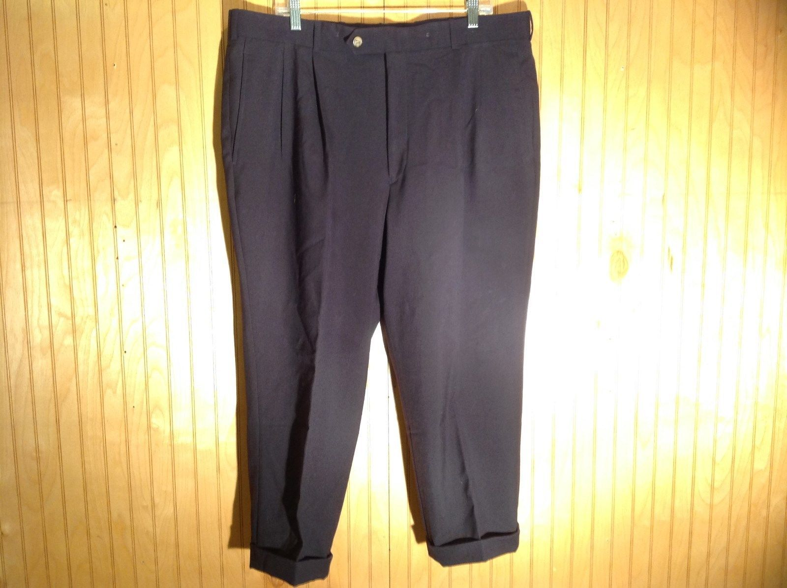 Dark Blue Pleated Dress Pants Size 40 Cordovan and Grey 100 Percent Virgin Wool