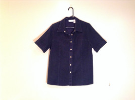 Dark Blue Liz Claiborne Short Sleeve Shirt Size 16 Snap Closures Down Front