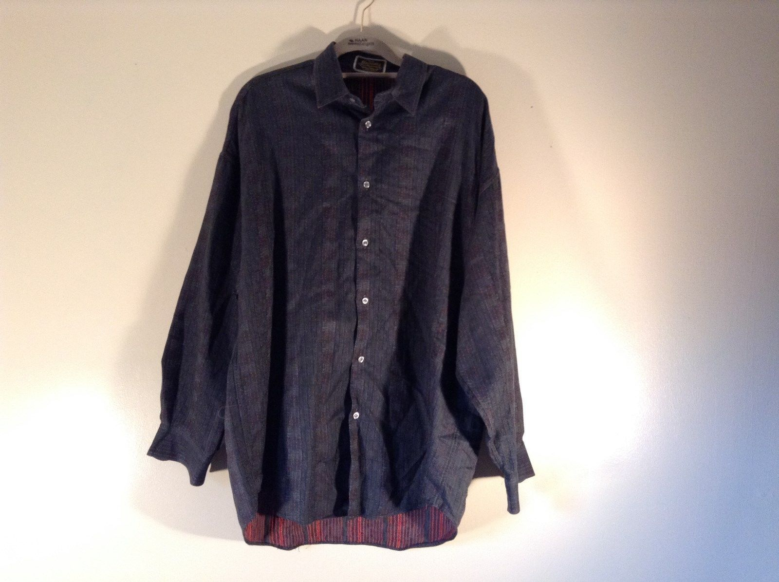 Dark Blue Patterned Long Sleeve Collared Dress Shirt Britches of Georgetowne USA