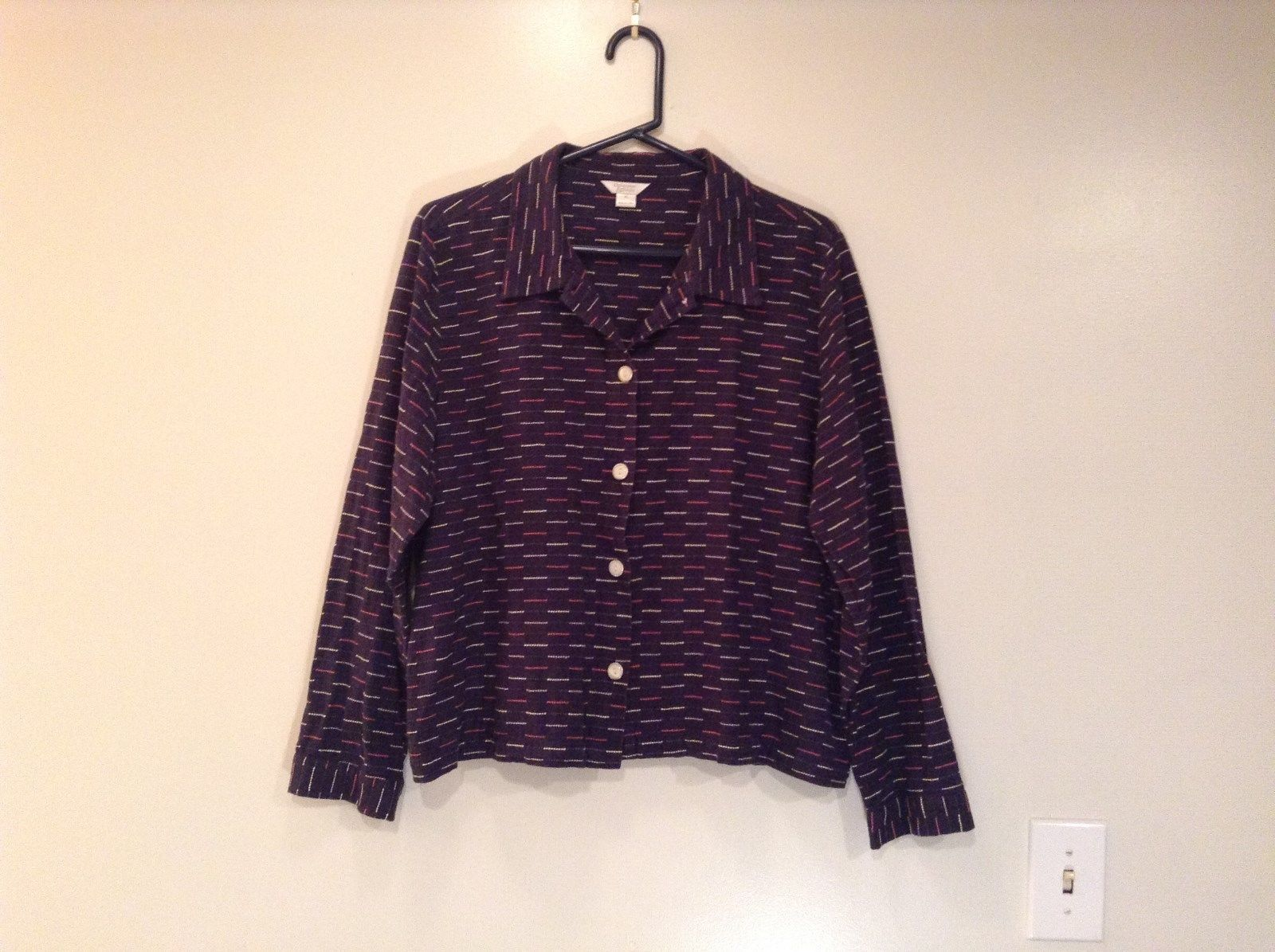 Dark Blue Multicolored Stripes Christopher and Banks Button Up Shirt Size XL