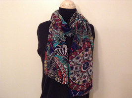 Dark Blue Dark Green Red Circle Pattern Scarf 100 Percent Polyester NEW - $39.99