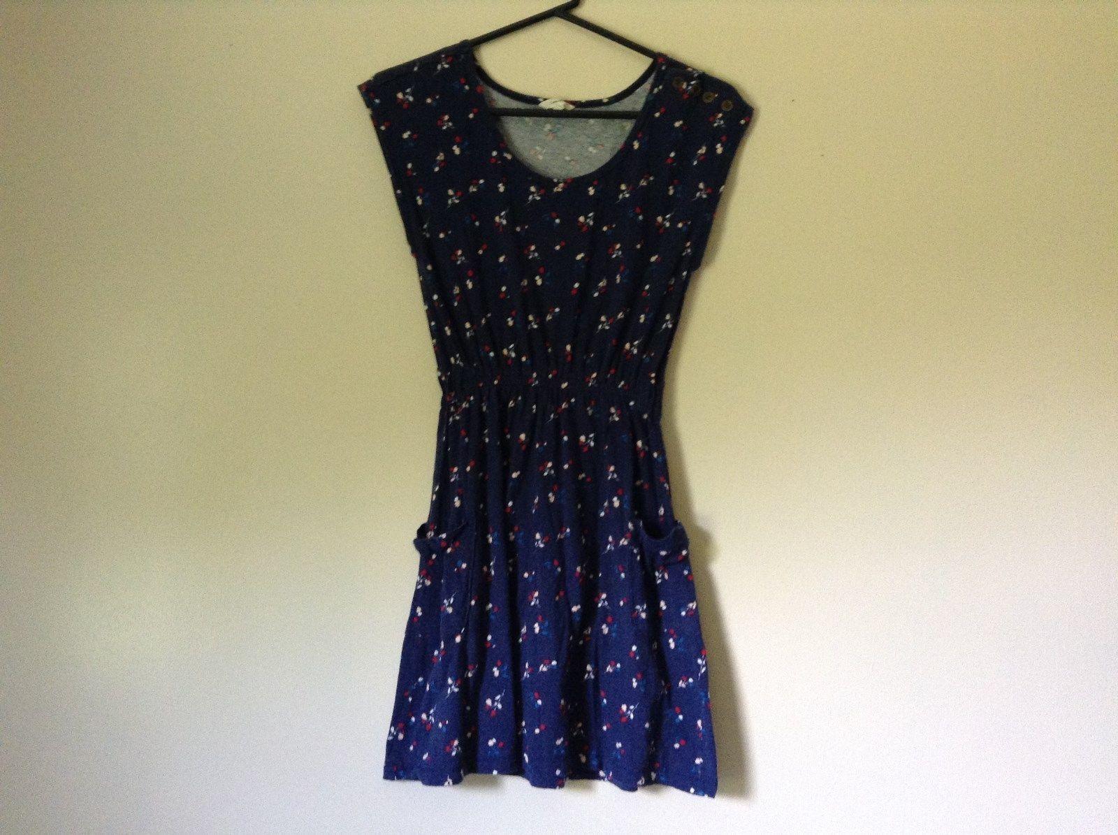 Dark Blue Cute Summer Dress Sleeveless Flowers Button on Shoulder Size M