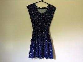 Dark Blue Cute Summer Dress Sleeveless Flowers Button on Shoulder Size M image 1