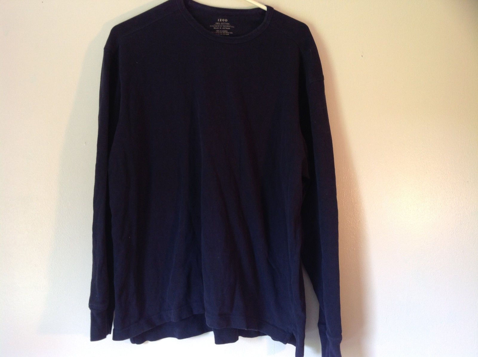 Dark Blue Long Sleeve 100 Percent Cotton Izod Shirt Made In Vietnam Size Large