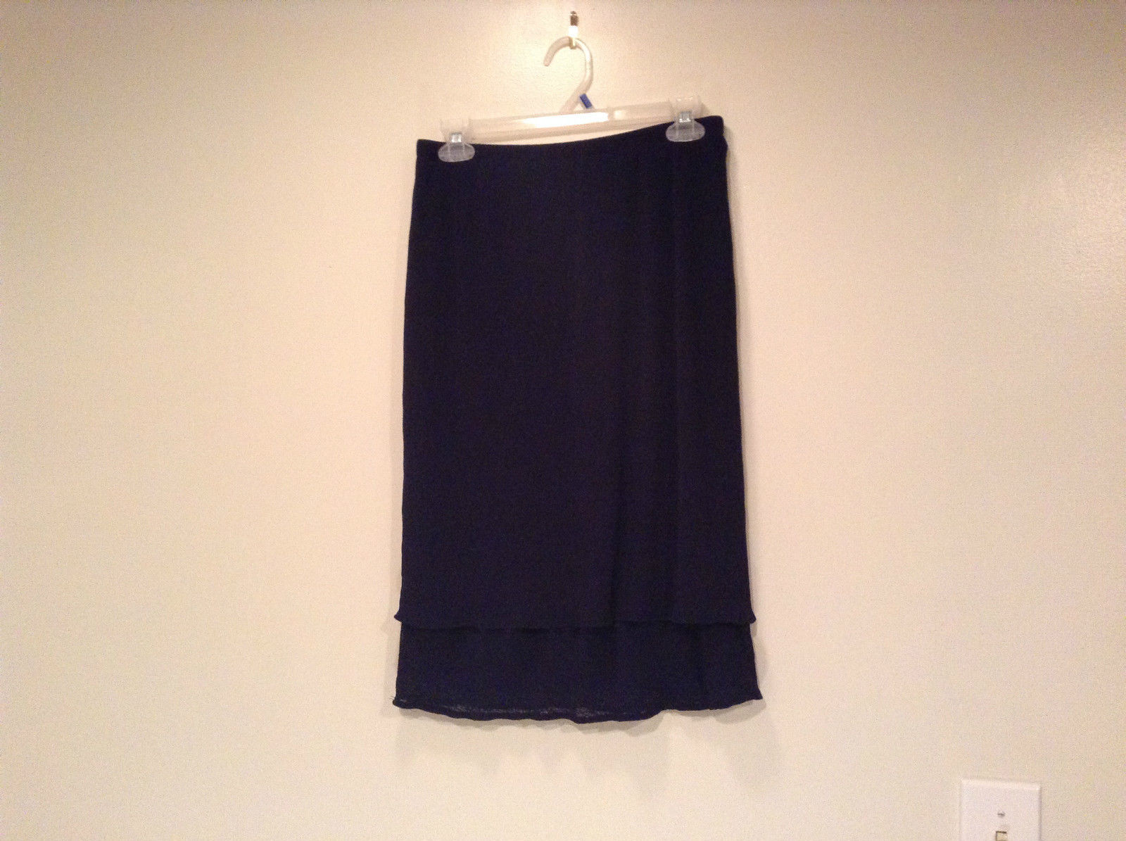 Dark Blue Stretch Fabric Kathy Ireland 100 Percent Polyester Size Medium Skirt