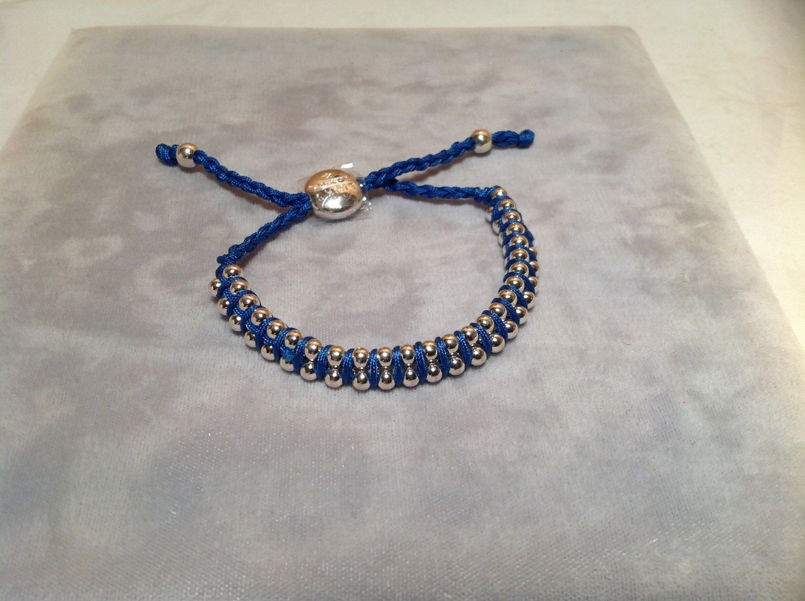 Dark Blue Small Tied String Bracelet Sliding Bead for Adjustment