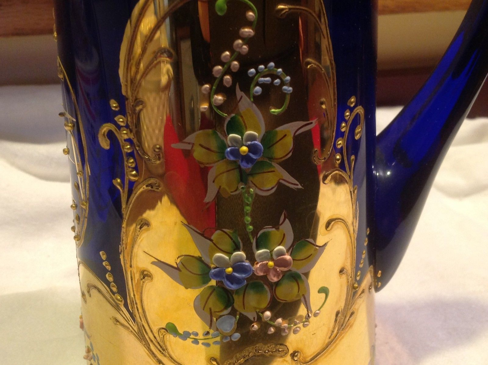 Cobalt blue glass hand painted flower gold Czech beverage serving set