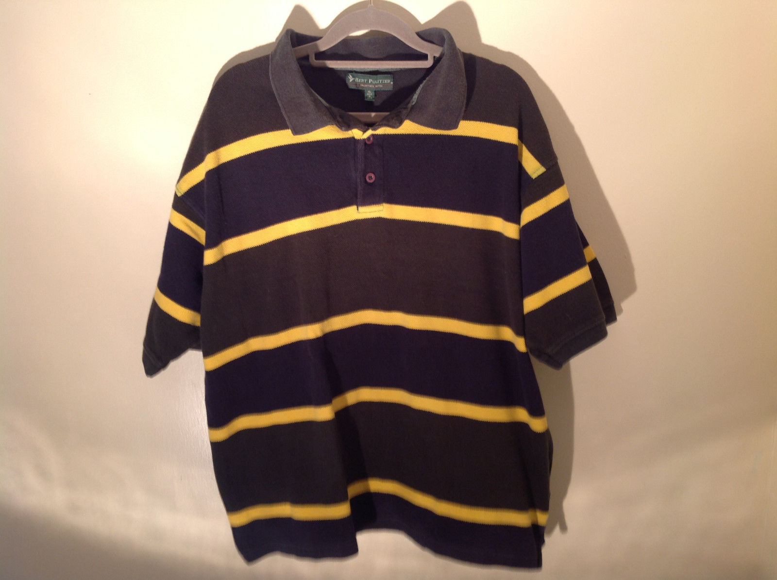 Dark Blue with Yellow Stripes Bert Pulitzer Short Sleeve Casual Shirt Size XL