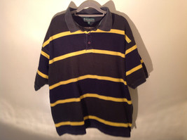 Dark Blue with Yellow Stripes Bert Pulitzer Short Sleeve Casual Shirt Size XL image 1
