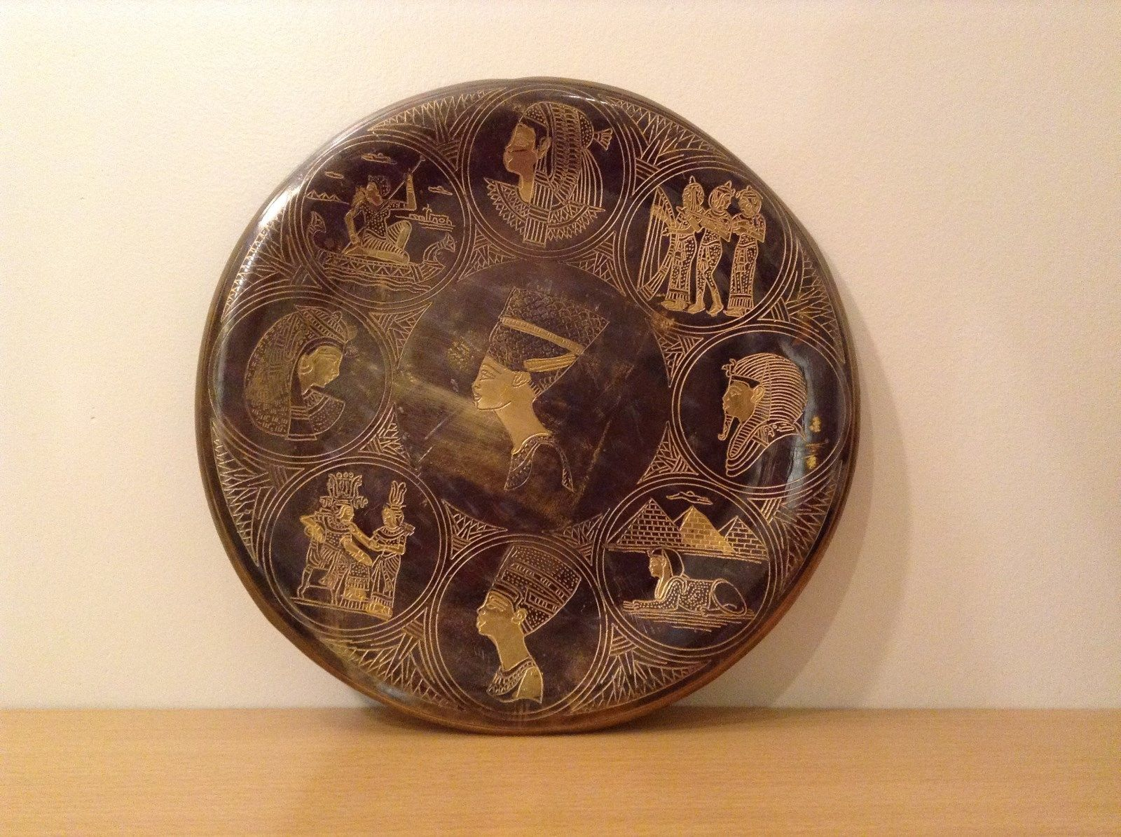 Decorative Wall Metal Plate from Egypt Brown Gold Tone Metal Copper