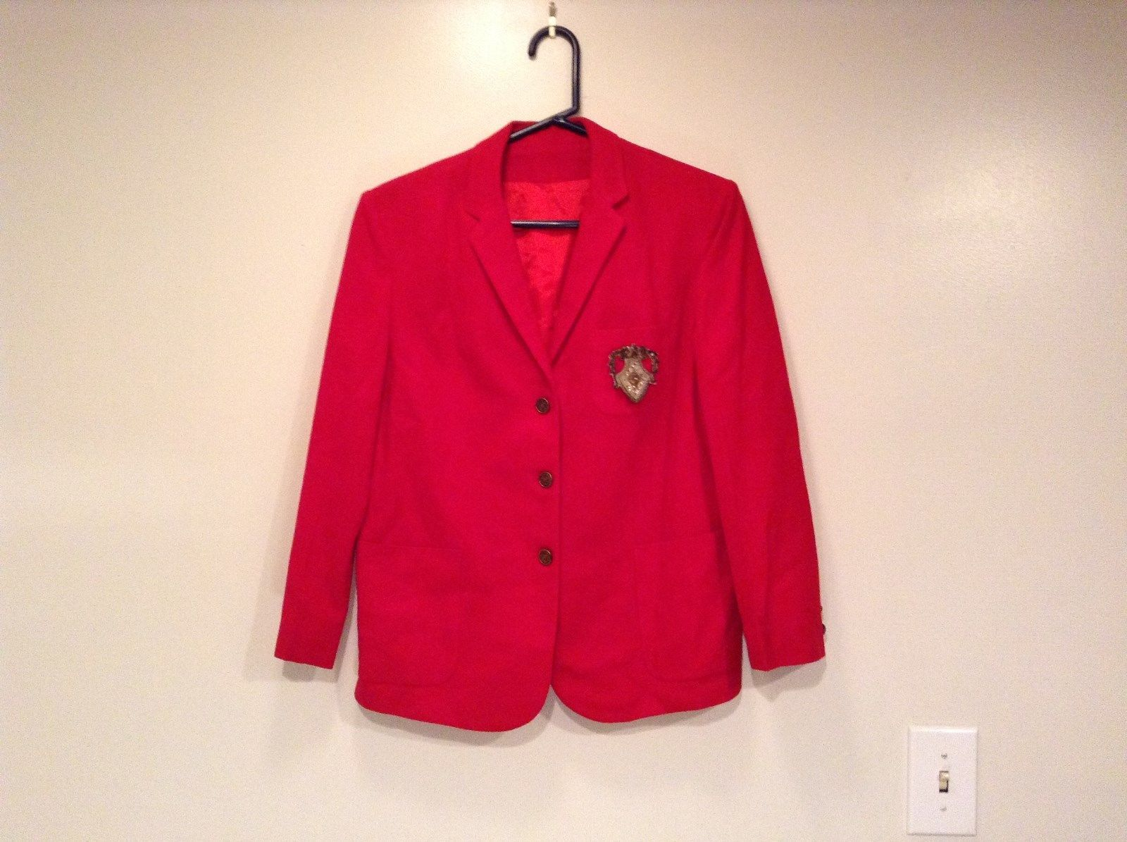 Deep Red Fully Lined Long Sleeve Blazer Jacket Size S to M Petite No Tags