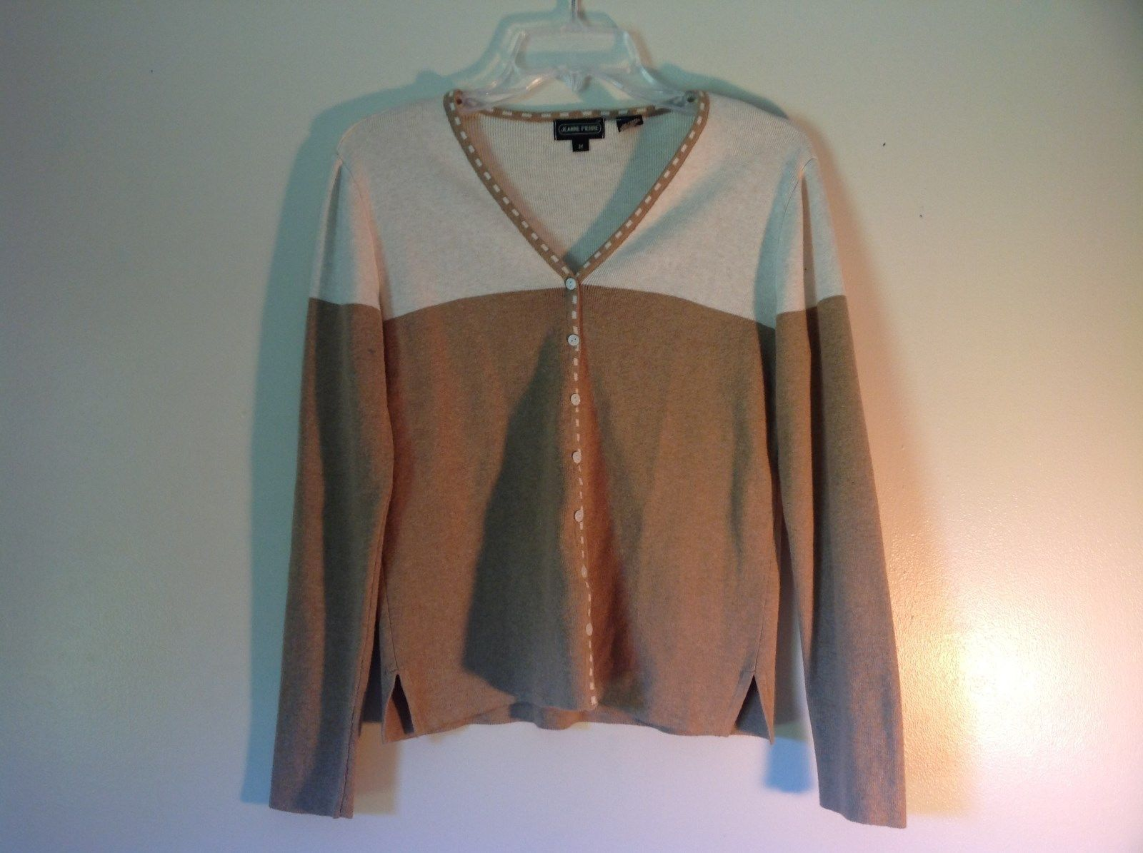 Deep V Neck Button Up Long Sleeve Jeanne Pierre Brown and White Sweater Size M