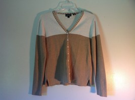 Deep V Neck Button Up Long Sleeve Jeanne Pierre Brown and White Sweater Size M image 1