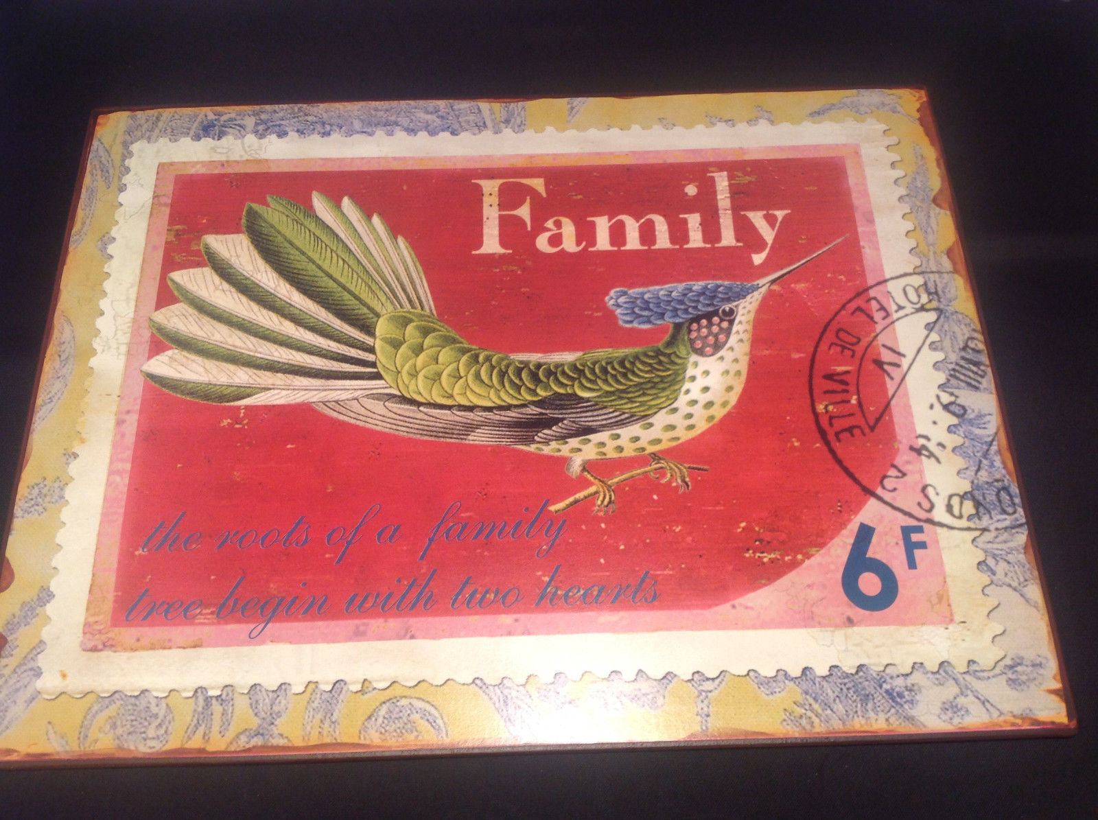Decorative Metal Plaque Bird Design Family Theme Brand New Tag