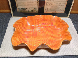 Decorative Orange Handmade Large Serving Tray Geometric Designs Inside Wavy Edge