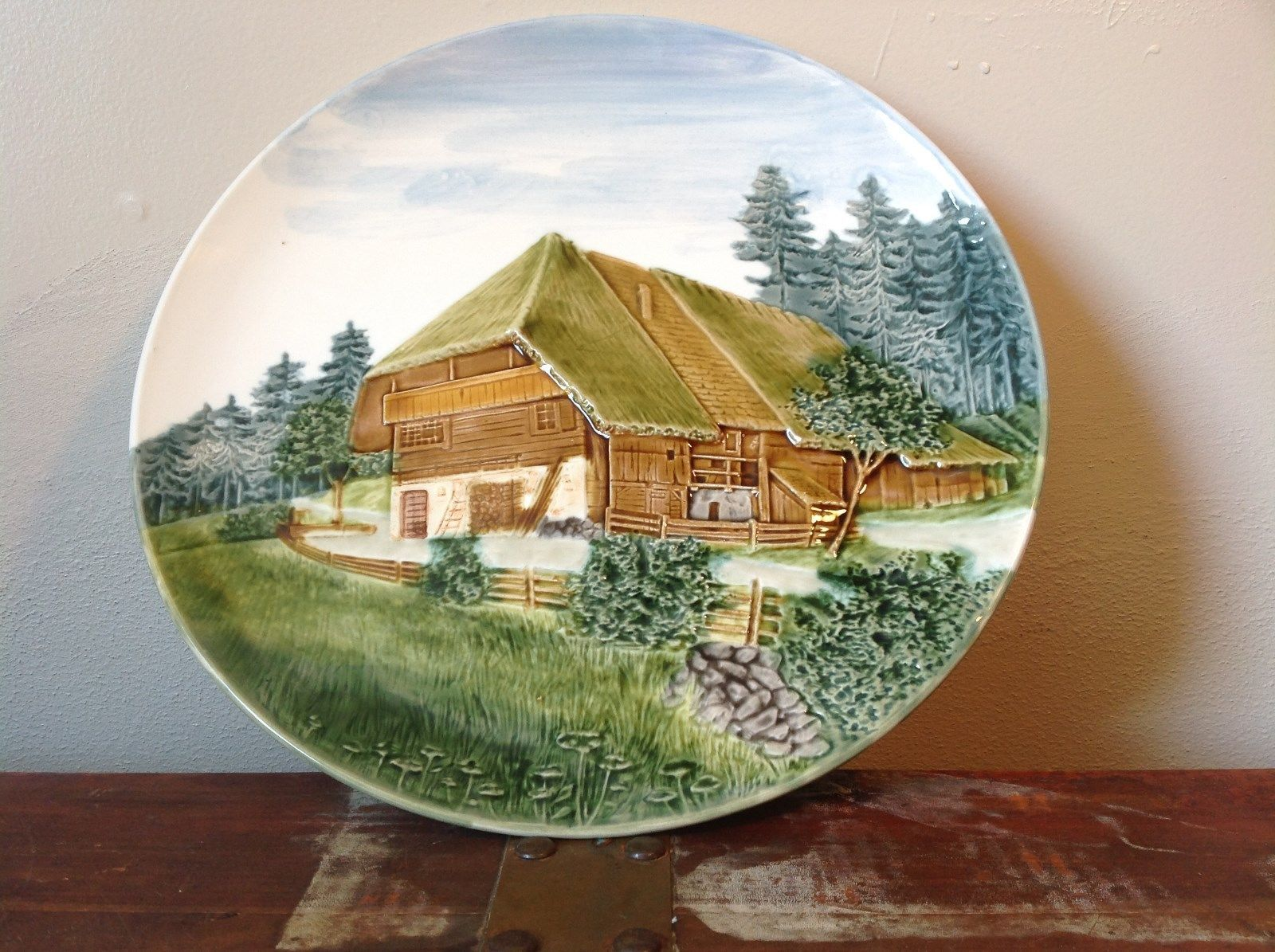 Decorative Rustic Painted House on Edge of Pine Forest Plate Made in Germany