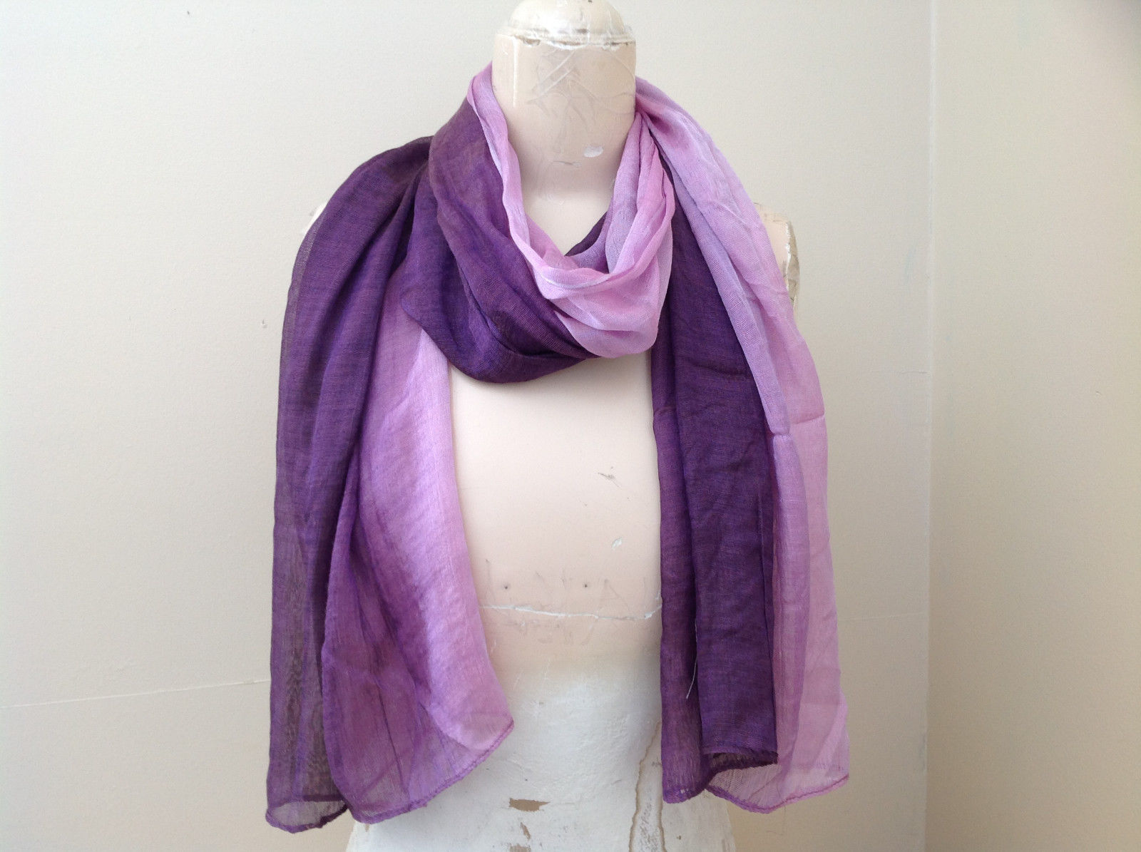 Deep purple watercolor scarf material has a shine to it length 68 inches