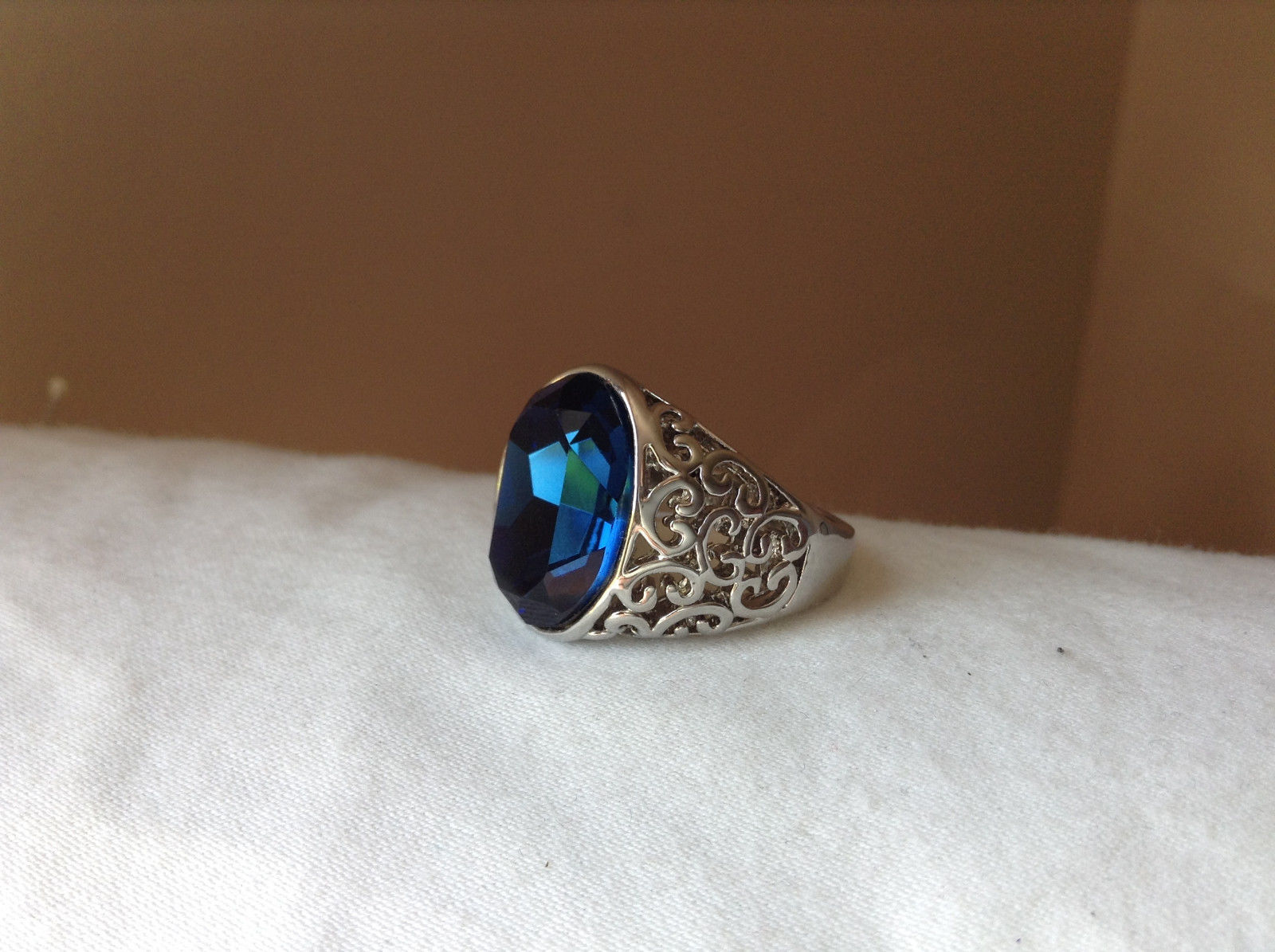 Deep Blue CZ Stone Swirl Design Stainless Stain Ring Size 9.5