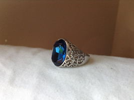 Deep Blue CZ Stone Swirl Design Stainless Stain Ring Size 9.5 image 1
