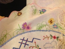 Collection lot of hand stitched crocheted embroidered doilies and runners image 3