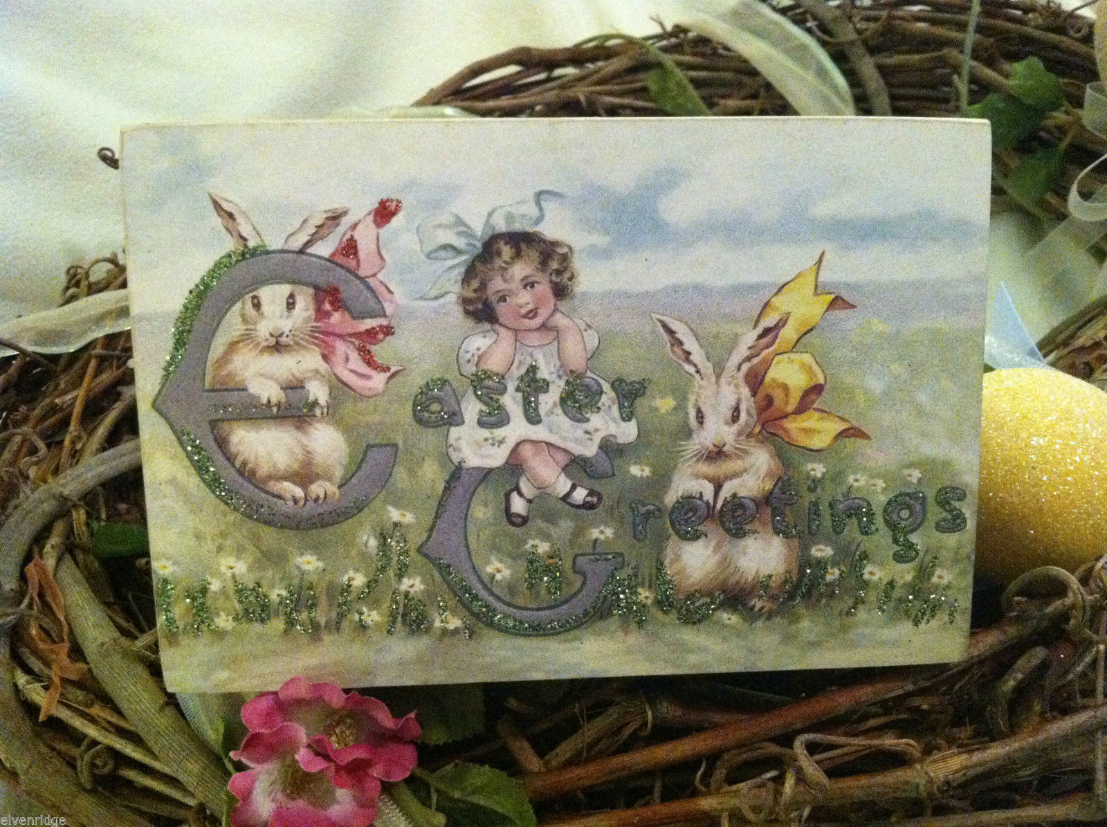 Decorative wooden box sign w vintage Easter Greetings picture basket stuffer