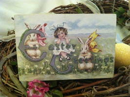 Decorative wooden box sign w vintage Easter Greetings picture basket stuffer image 1
