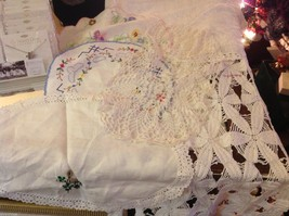 Collection lot of hand stitched crocheted embroidered doilies and runners image 6