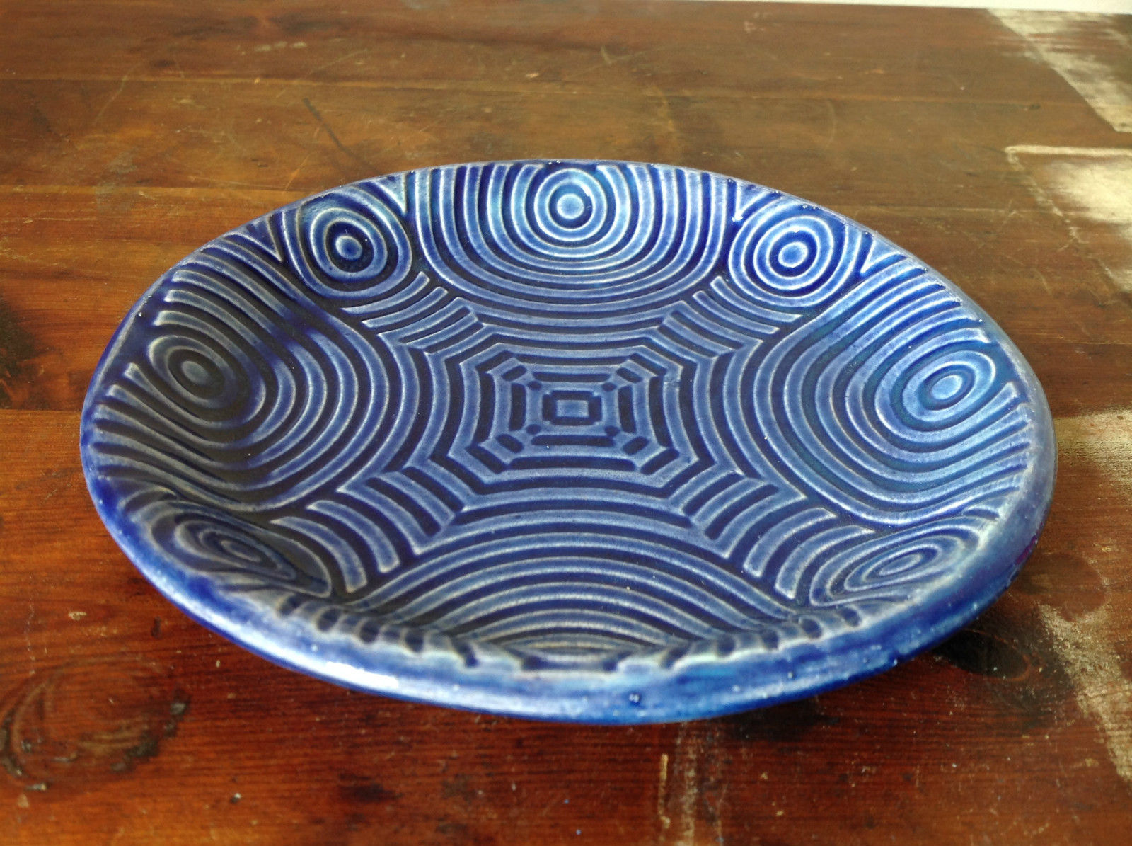 Deep Blue Ceramic Plate Saucer Interesting Relief Pattern Handcrafted Artisan