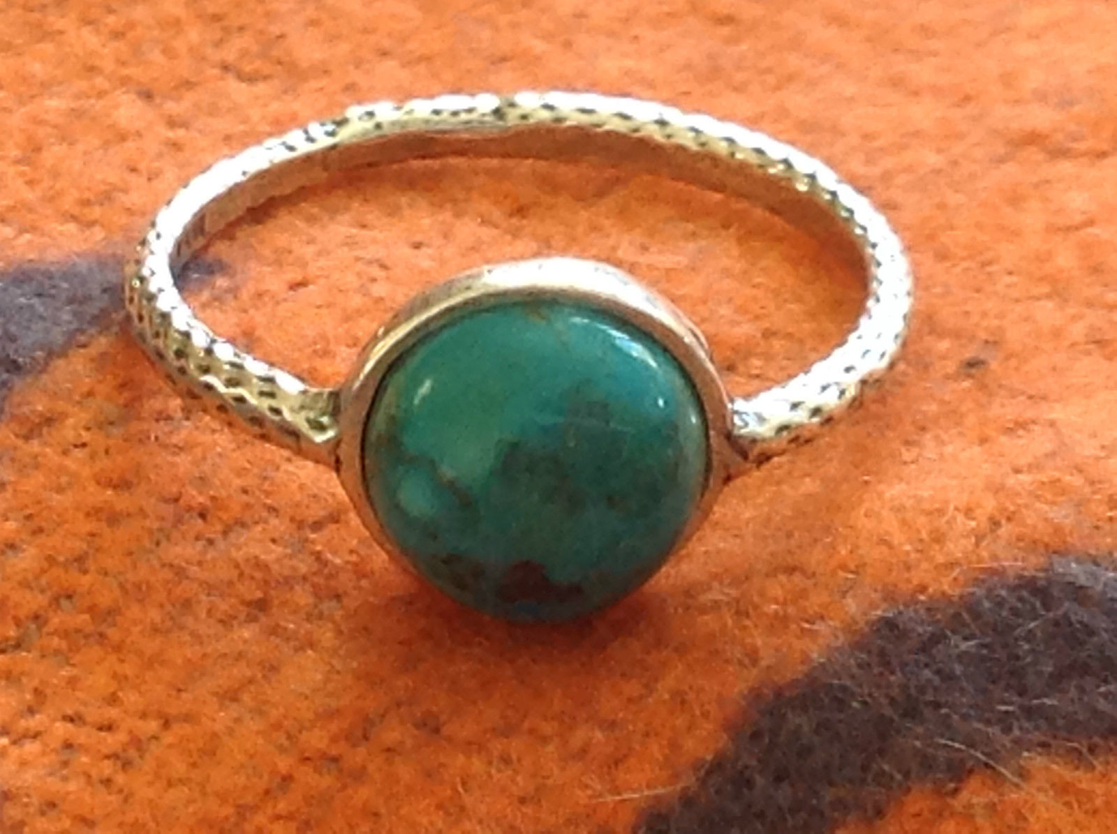 Delicate Feminine Turquoise Cabochon Sterling Silver Ring Size Choice 7 or 8