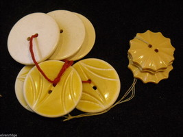 Collection of vintage buttons in whites and yellows large image 6