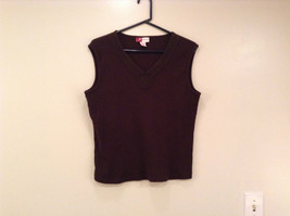 Dark Brown V Neck Sleeveless 100 Percent Cotton Top Jill Collection Size XL