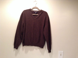 Dark Brown V Neck Long Sleeve Brooks Brothers Sweater Size Large