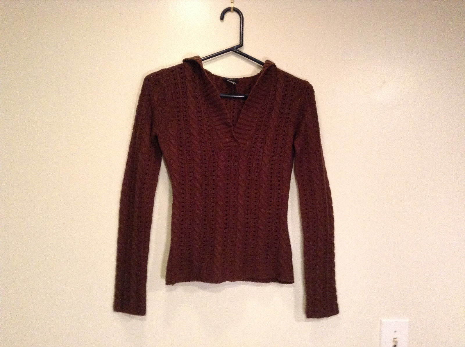 Dark Brown Long Sleeve Hooded Knitted Sweater by Rue 21 V Neck Size Small