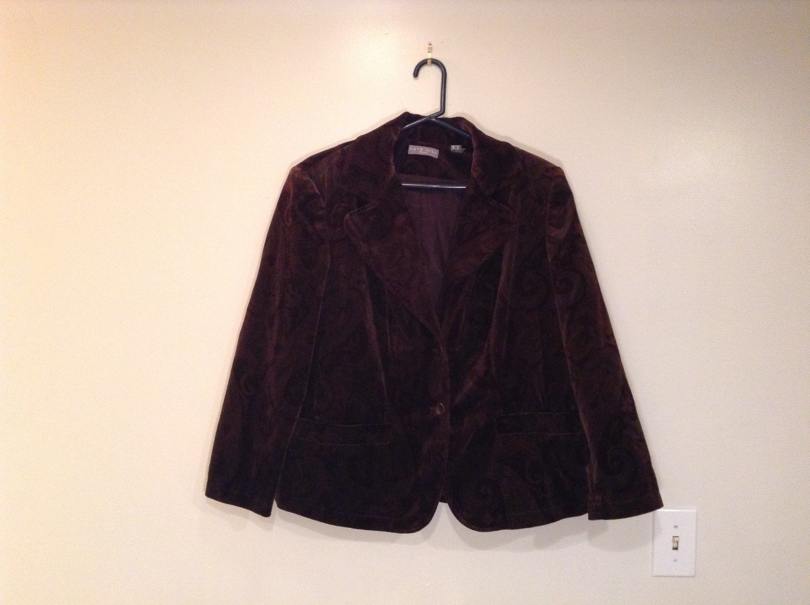 Dark Brown Maroon Pattern Fully Lined Kate Hill Size 16W Blazer Great Condition