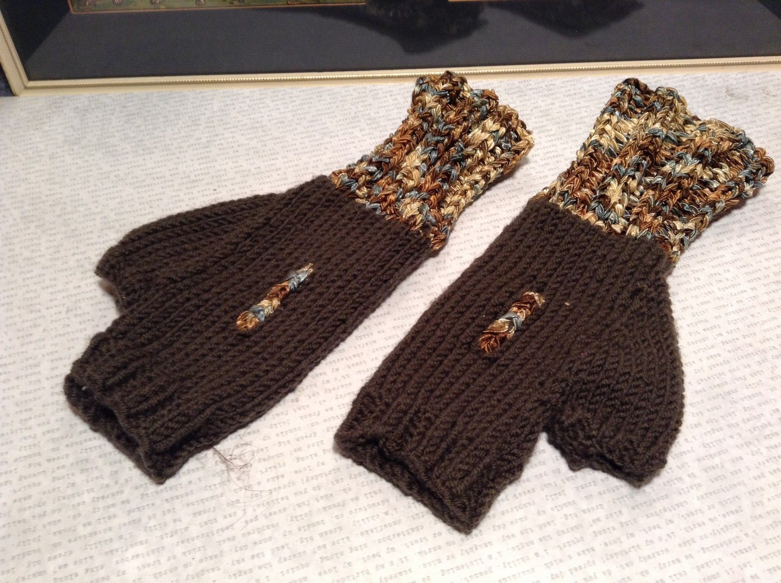 Dark Brown Hand Knitted Woven Fingerless Gloves Very Soft