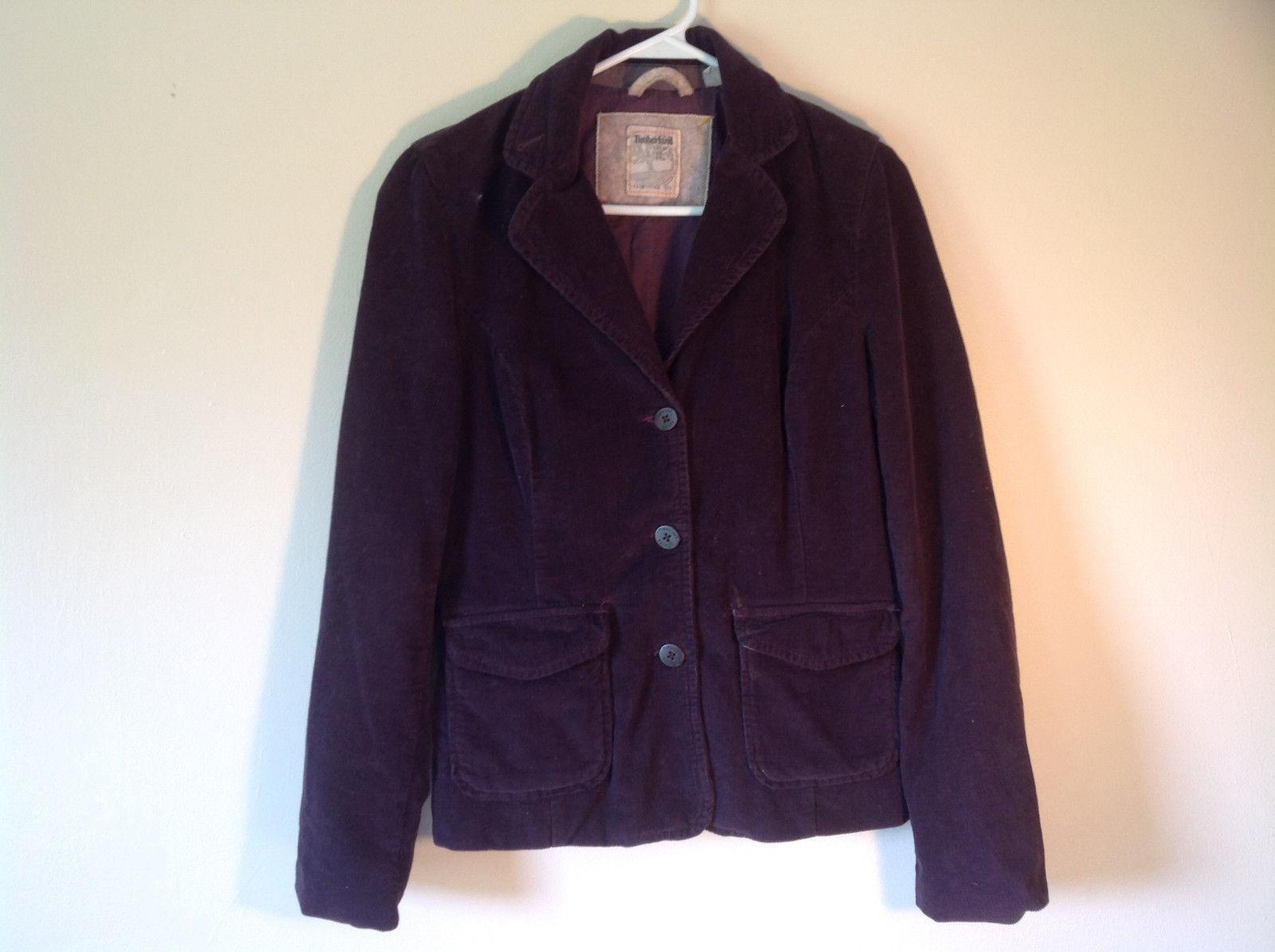 Dark Brown Timberland Corduroy Jacket 2 Front Pockets 3 Button Closure Size 8