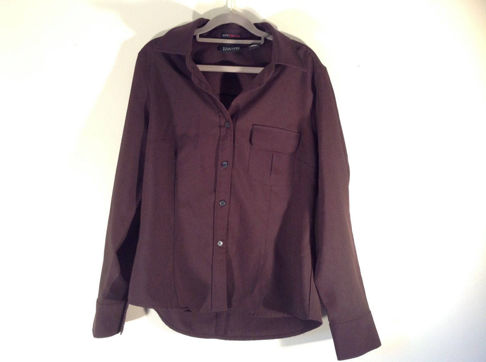 Dark Brown Size Large New York and Company Long Sleeve Button Up Blouse