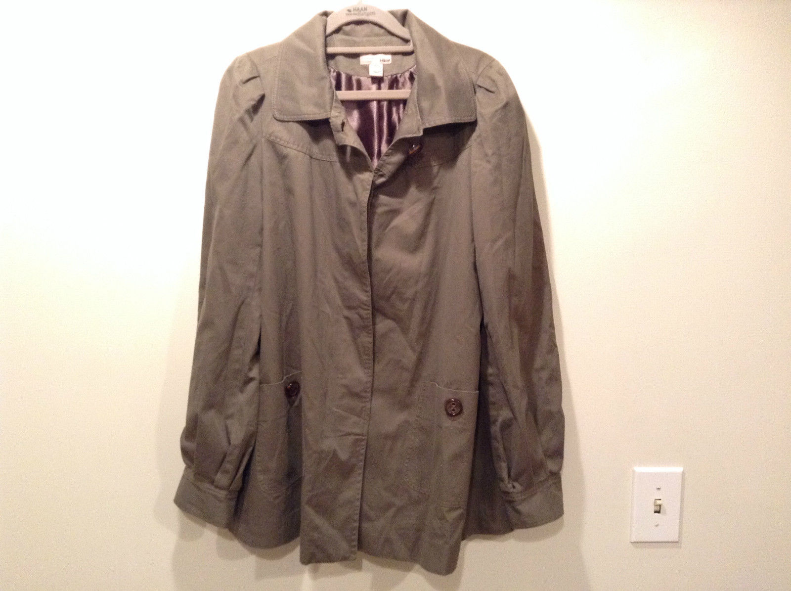 Dark Brown Gray H and M Size 10 Long Hidden Button Up Closure Jacket Pockets