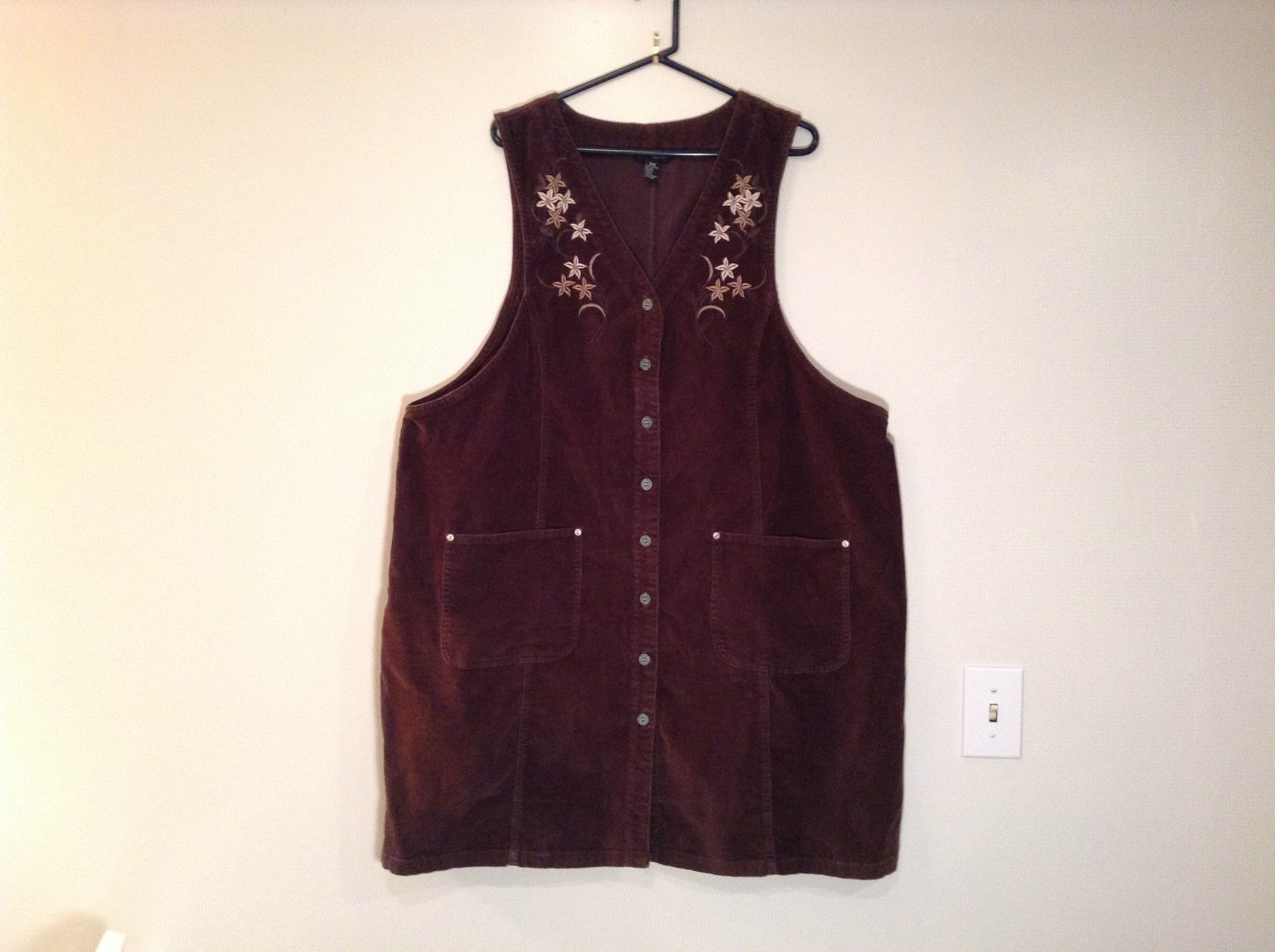 Dark Brown V Neck Sleeveless Dress 3X Eric Charles 100 Percent Cotton corduroy