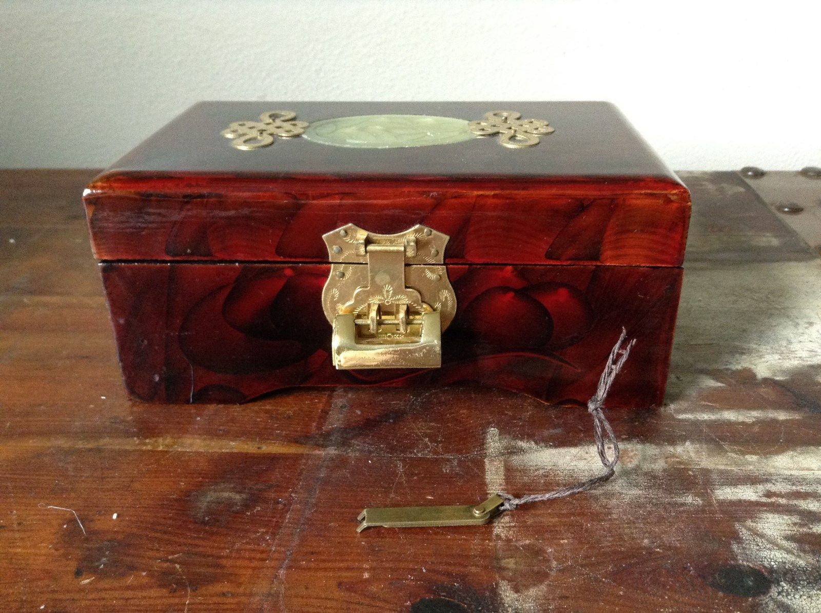 Dark Brown Wooden Lacquered Jewelry Box with Locking Mechanism Red Interior