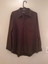 Dark Gray Button Up Long Sleeve Shirt Chest Pocket Geoffrey Beene Size 34 to 35