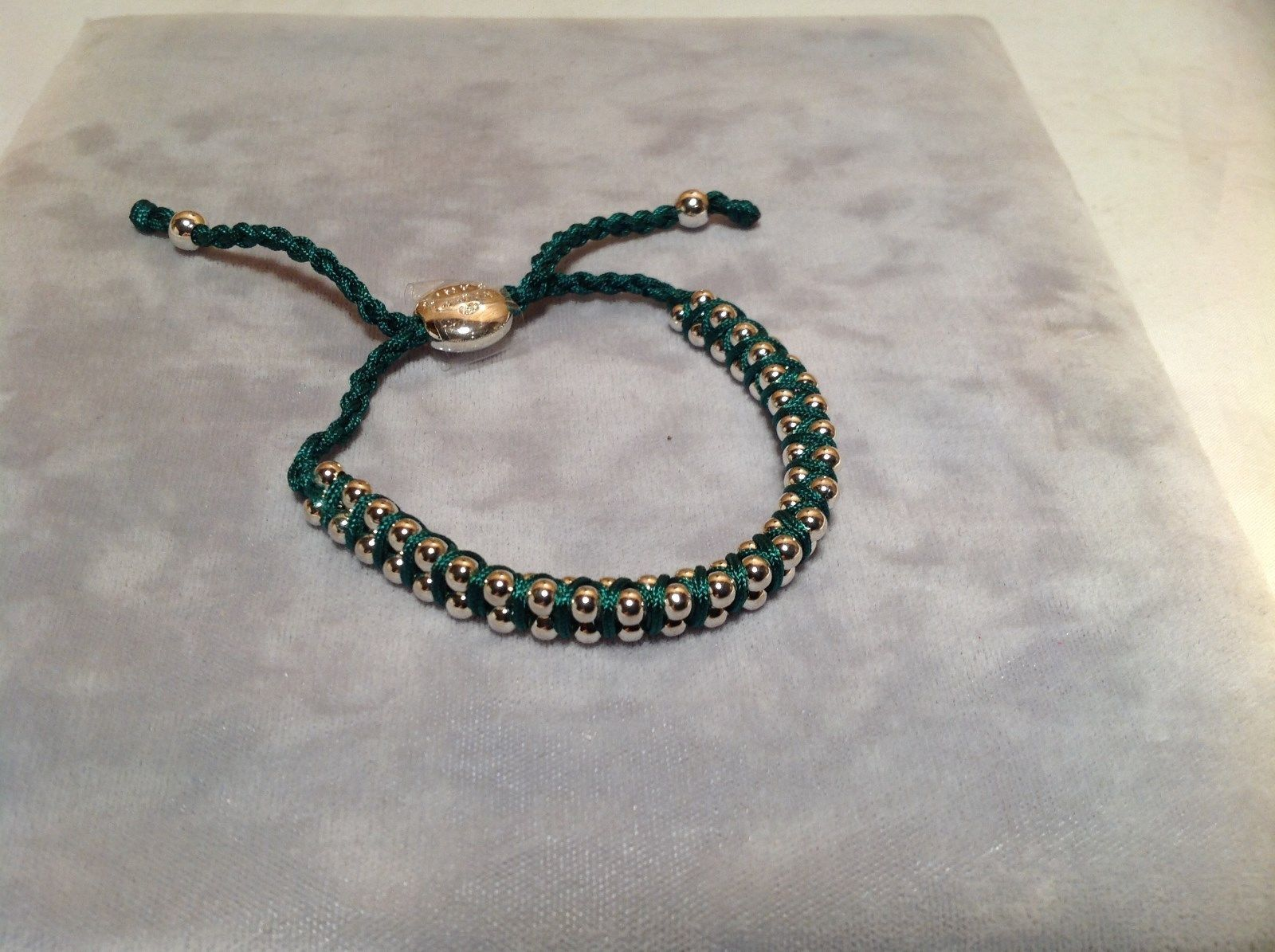 Dark Green Small Tied String Bracelet Sliding Bead for Adjustment