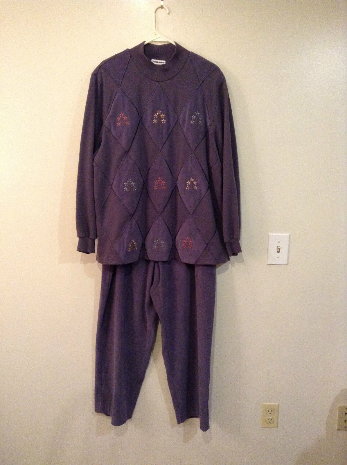 Dark Lavender Sweater and Pant Set Alfred Dunner Sweater Size 2X Pant Size 24W