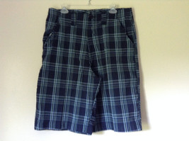 Dark Light Blue and Green Plaid Shorts by Bugle Boy Size 34