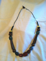 Dark Cherry Chocolate Brown Geometrically Shaped Multicolored Beaded Necklace