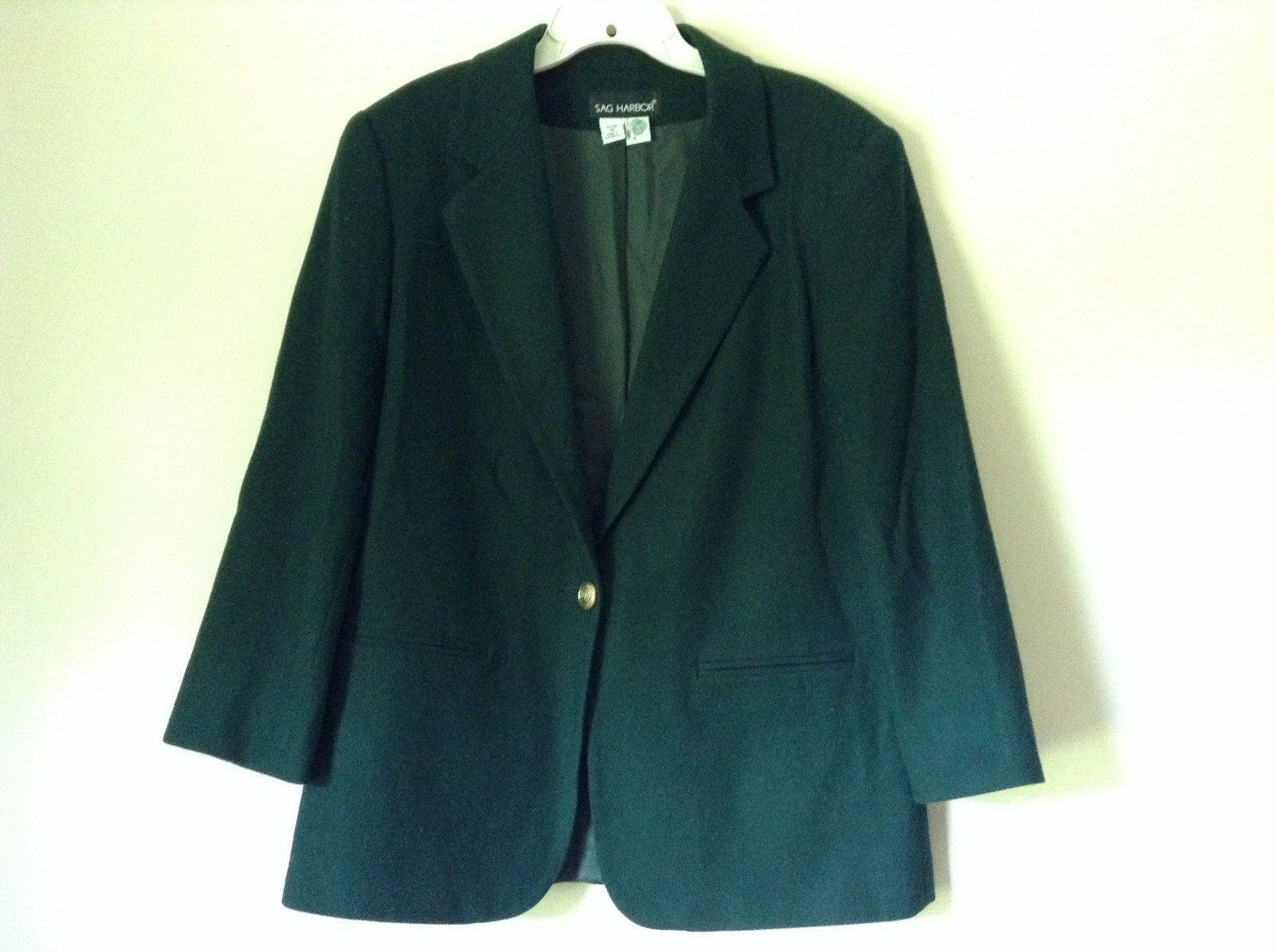 Dark Green Wool Suit Jacket Blazer by Sag Harbor Size 12 Shoulder Pads