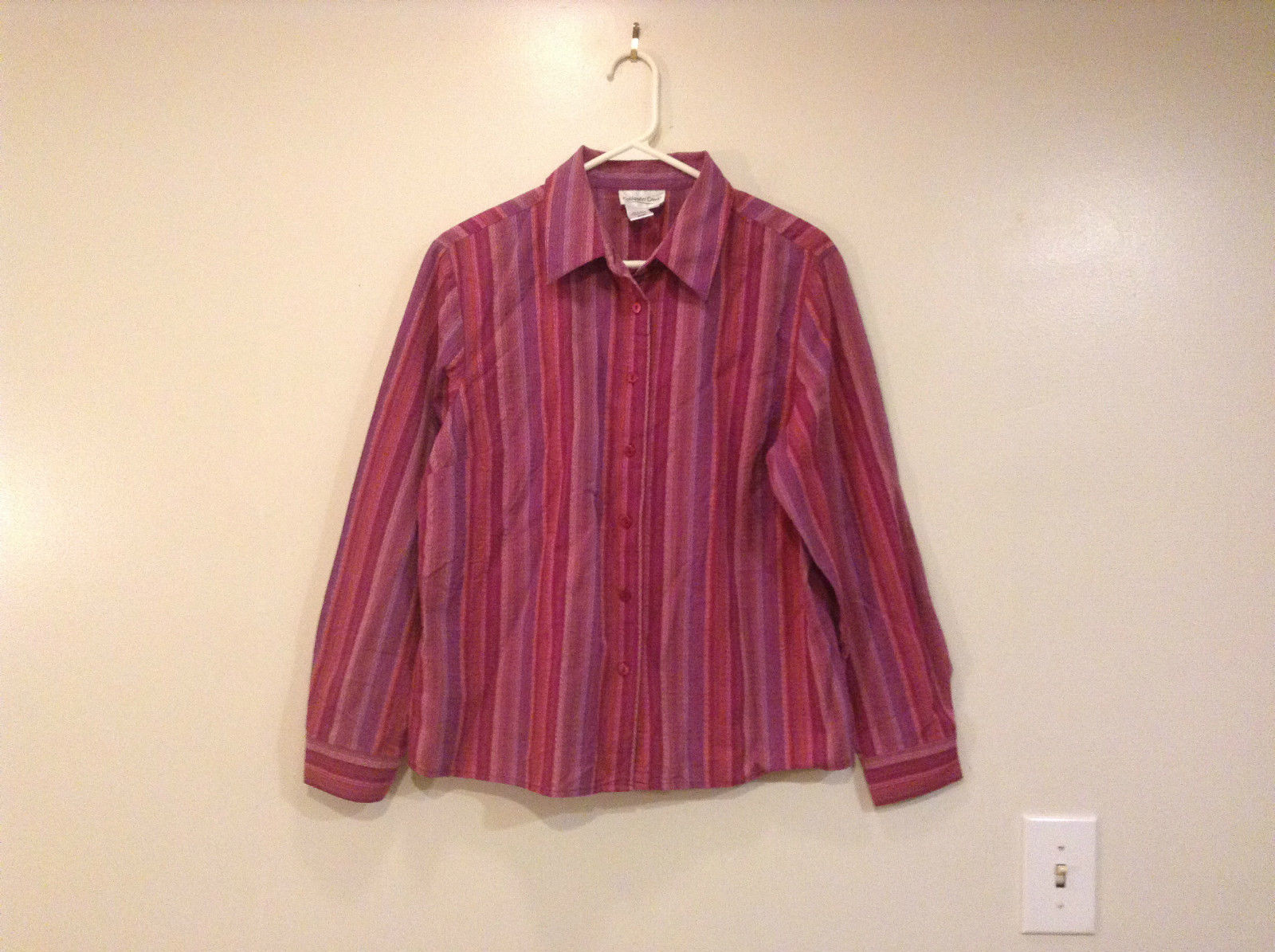 Dark Light Pink Violet Orange Lavender Button Up Coldwater Creek Shirt Size PL